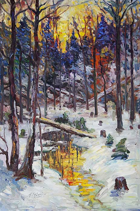_ARCH_ Untitled (Winter forest undergrowth at sunset) by Armand Tatossian (A.R.C.A / R.C.A) - Galerie Lamoureux Ritzenhoff