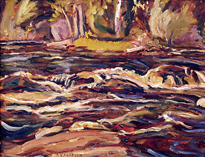 _ARCH_ Rapids on Black Creek, Madoc, Ontario, 1967 by A.Y. Jackson, R.C.A. - Galerie Lamoureux Ritzenhoff