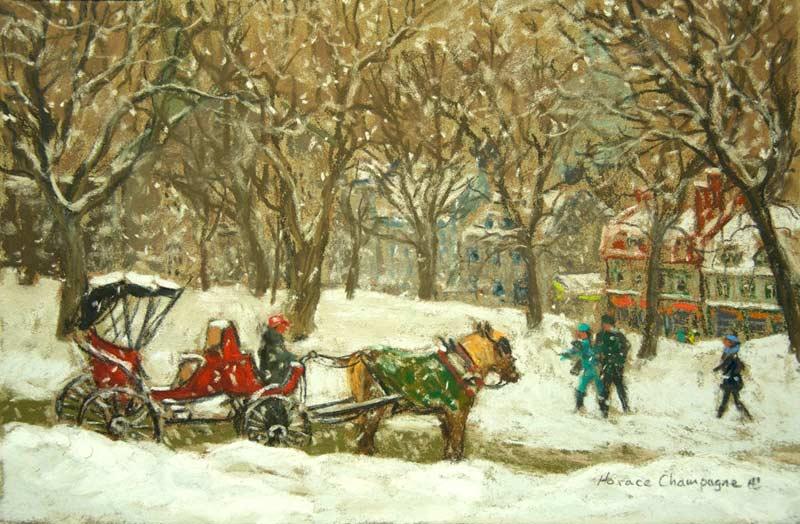 _ARCH_ Place D'Armes Park (Old Quebec) by Horace Champagne, P.S.A - Galerie Lamoureux Ritzenhoff