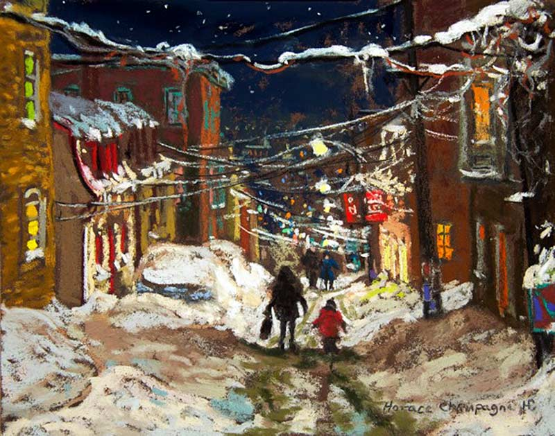 _ARCH_ Going Home After School (Looking down Rue Sutherland, in January, Quebec)  by Horace Champagne, P.S.A - Galerie Lamoureux Ritzenhoff