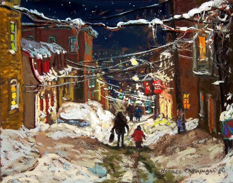 _ARCH_ En allant à la maison après l'école (Regardant sur la rue Sutherland, en janvier, Québec)  par Horace Champagne, P.S.A - Galerie Lamoureux Ritzenhoff