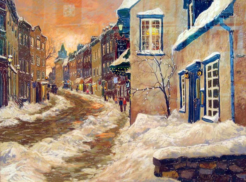 _ARCH_ Orange Sunset on rue St-Louis, 1990 by Horace Champagne, P.S.A - Galerie Lamoureux Ritzenhoff