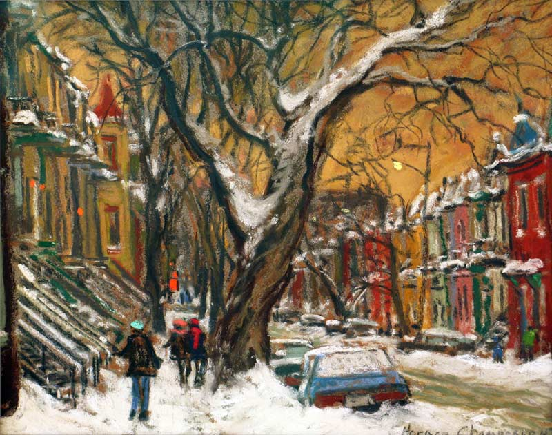 _ARCH_ Magnificient Tree (On Berri Street close to Roy Street, Montreal) by Horace Champagne, P.S.A - Galerie Lamoureux Ritzenhoff
