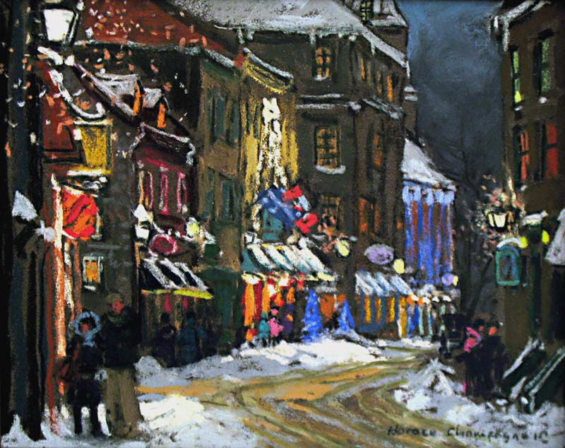 _ARCH_ Holiday Seasons (St-Louis Street, Old Quebec) by Horace Champagne, P.S.A - Galerie Lamoureux Ritzenhoff