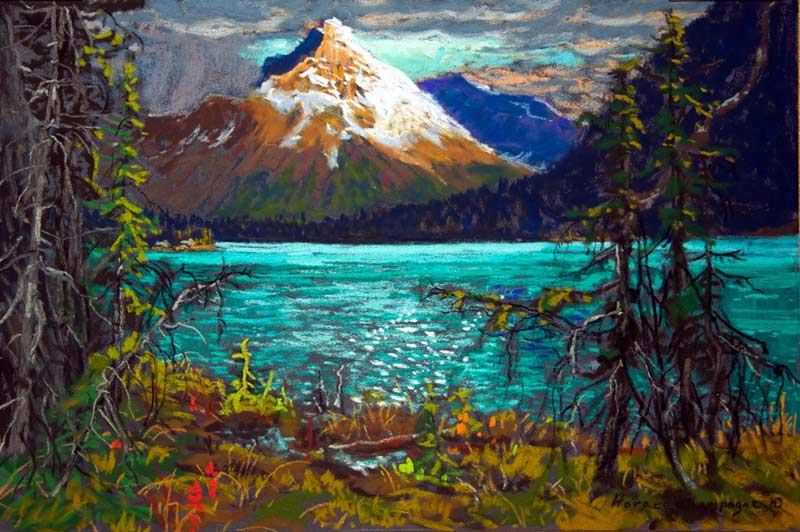 _ARCH_ Levée du soleil sur Cathedral Mountain (Lac O'Hara, Yoho, Parc national, C.-B.) par Horace Champagne, P.S.A - Galerie Lamoureux Ritzenhoff