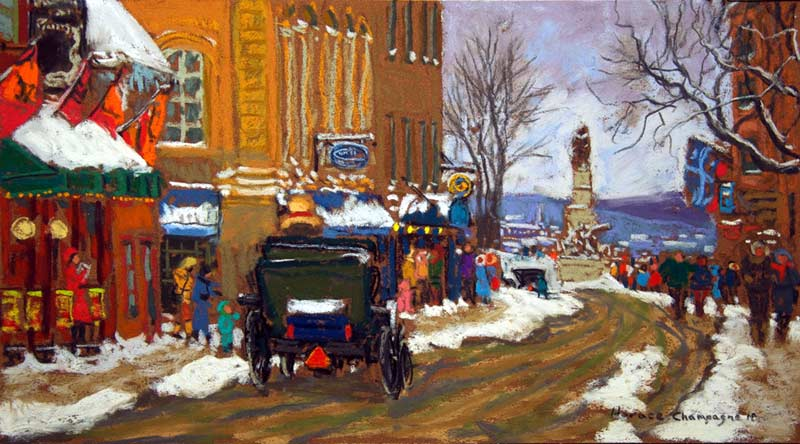 _ARCH_ Sunday Afternoon, St.Louis Street (Old Quebec) by Horace Champagne, P.S.A - Galerie Lamoureux Ritzenhoff