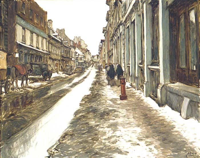 _ARCH_ Rue St-Paul vers Place Jacques-Cartier d'autrefois, circa 1978 par John Little, (R.C.A. / A.R.C.A.) - Galerie Lamoureux Ritzenhoff