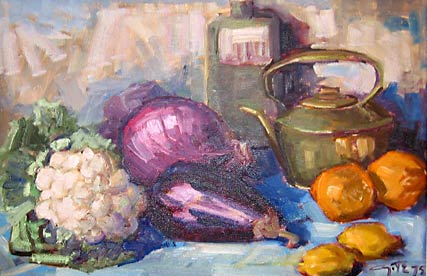 _ARCH_ Still Life with Cabbages and Eggplant by Léo Ayotte - Galerie Lamoureux Ritzenhoff