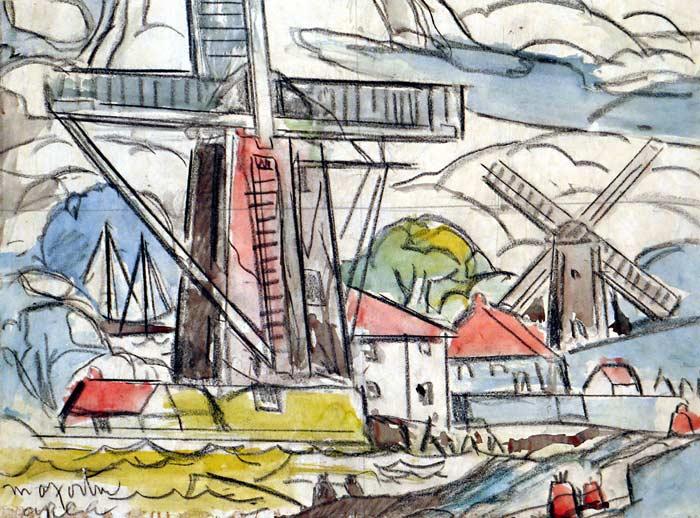 _ARCH_ Untitled (Landscape of Port and Windmills) by Marc-Aurele Fortin, R.C.A. - Galerie Lamoureux Ritzenhoff