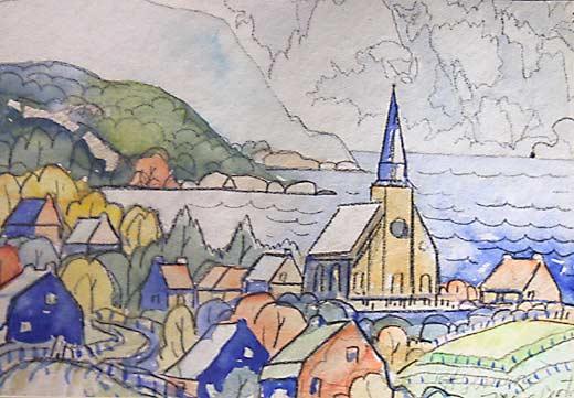_ARCH_ Vue de Baie St-Paul by Marc-Aurele Fortin, R.C.A. - Galerie Lamoureux Ritzenhoff