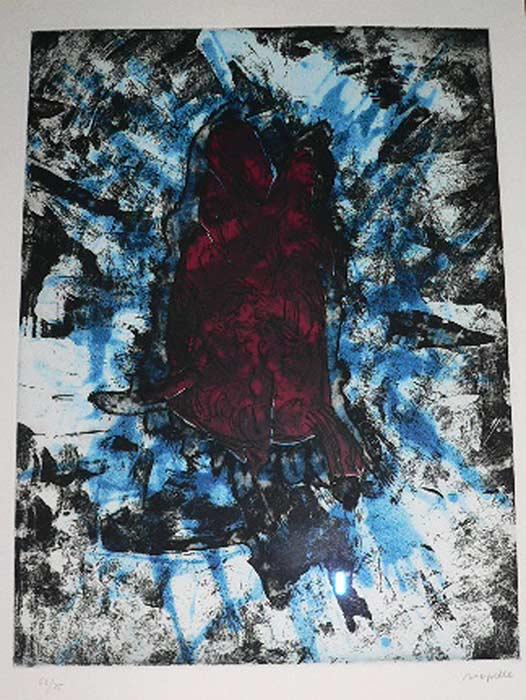_ARCH_ Poisson sur Fond bleu, 1968 by Jean Paul Riopelle, R.C.A. - Galerie Lamoureux Ritzenhoff