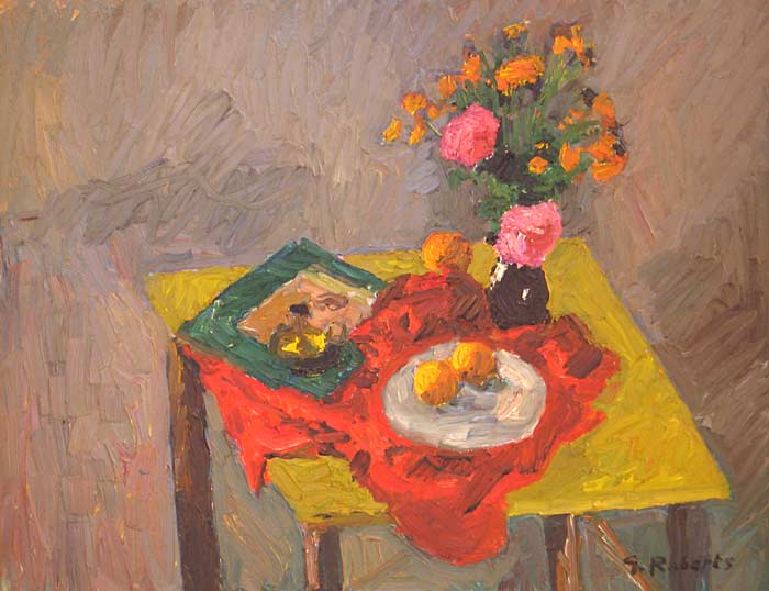 _ARCH_ Yellow Table and Flowers by William Goodridge Roberts,  (A.R.C.A./R.C.A.) - Galerie Lamoureux Ritzenhoff